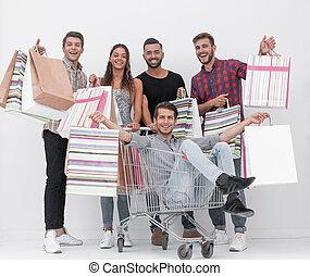 leute, shoppen, junger, heiter, gruppe