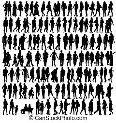 leute, silhouette, schwarz, vektor