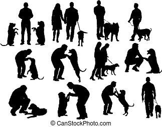 leute, silhouetten, mit, hund