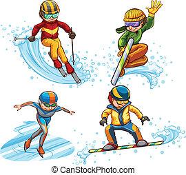 leute, skizze, einfache , schlittschuhlaufen, farbig