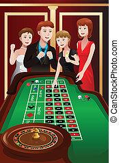 leute, spielende , roulett, in, a, kasino