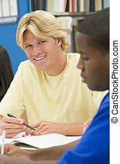 leute, studieren, drei, buchausleihe, focus), (selective