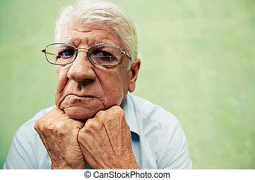 leute, und, gefuehle, porträt, von, deprimiert, älter,...
