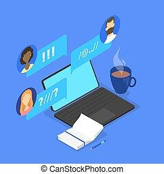 leute, unterhaltung, auf, forum, in, internet