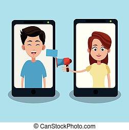 leute, unterhaltung, auf, smartphone