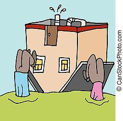 leute, upside down, auf, ihr, daheim, hausfinanzierung