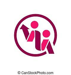 leute, vektor, abstrakt, logo, schablone, 2, design., zwei