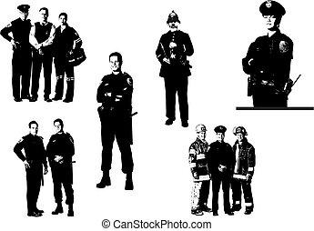 leute, vektor, assistant., polizisten, medizin, silhouettes., abbildung, feuerwehrmann