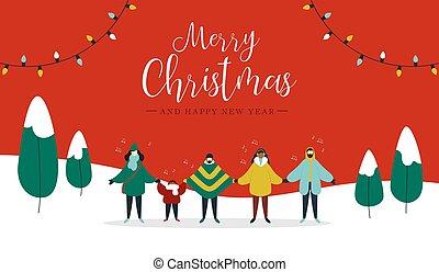 leute, verschieden, fröhlich, singende, weihnachtskarte