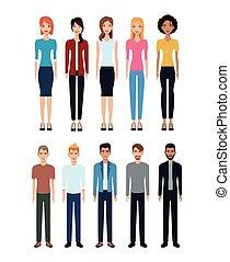 leute, verschieden, gruppe, gemeinschaft, sozial