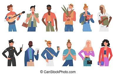 leute, verschieden, karikatur, verschieden, oder, rennen, satz, berufe, alter, multirassisch, beiläufig, zeichen