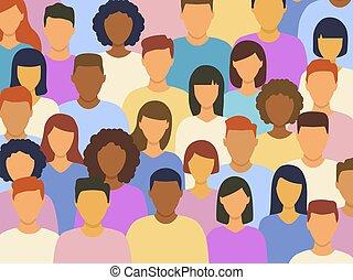 leute, verschieden, zusammen, stehende , gruppe, multikulturell