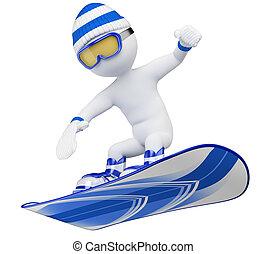 leute., weißes, snowboard, 3d