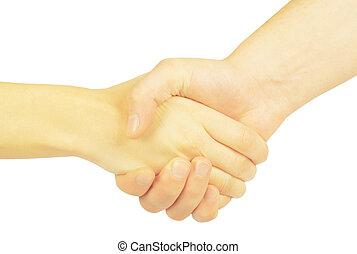 leute, zwei hände, woman., schüttelnd, mann