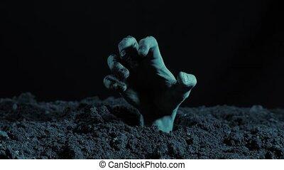 levée, dehors, main, tombe, zombi