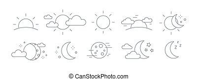 levée, monochrome, contour, symbols., lune, arrière-plan., monture, noir, étoiles, dessiné, blanc, phases, temps, collection, pictograms, paquet, soleil, jour, nuages, illustration., lignes, vecteur, nuit, ou
