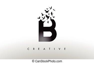 levél, falka, szétesik, b betű, jel, madár slicc, letter.