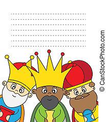 levél, három, király