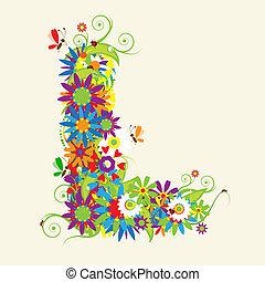 levél l, virágos, design., elkísér, is, irodalomtudomány,...