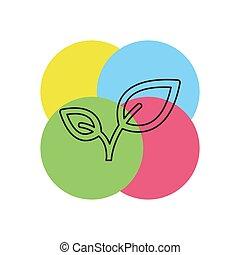 levél növényen, ábra, természet, vektor, zöld, szerves