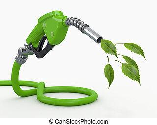 levél növényen, fúvóka, benzinkút, zöld, conservation.
