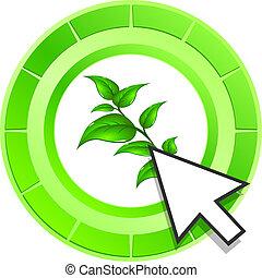 levél növényen, gombol, vektor, zöld, ikon