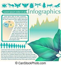 levél növényen, infographics
