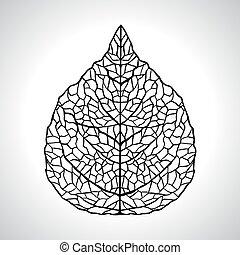 levél növényen, isolated., makro, ábra, vektor, fekete,...