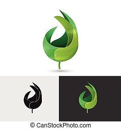 levél növényen, jelkép, elvont, jel, ikon
