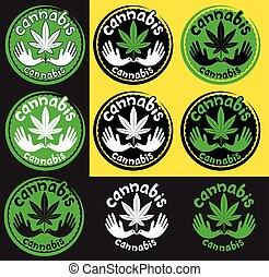 levél növényen, jelkép, marihuána, kender, galamb