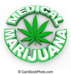 levél növényen, orvosi, -, marihuána, szavak, ikon