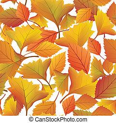 levél növényen, természet, zöld, pattern., seamless, ősz, háttér., bukás, virágos