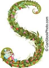 levél s, virágos, latin, dekoratív, betű, abc, felirat,...
