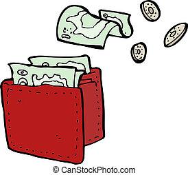 levéltárca, karikatúra, kiloccsantás, pénz