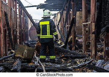 leva piedi, fattoria, pienamente, pompiere, bruciato, rovine