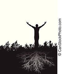 leva piedi, figura, radicato, pacifico, gratitude., fermamente