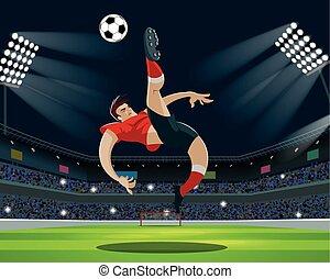 leva piedi, palla, calciare, fans., luce, giocatore, stadium., calcio
