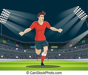 leva piedi, palla, fans., luce, giocatore, stadium., calcio