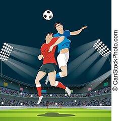 leva piedi, palla, fans., luce, lettori, combattimento, stadium.