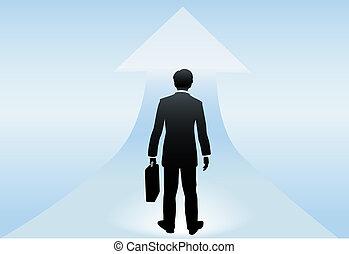 leva piedi, successo, futuro luminoso, uomo affari, poised