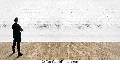 leva piedi, uomo affari, floor., opposto, parete, legno, mattoni, galleria, interno