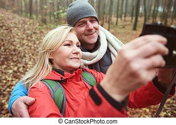 levado, selfie, floresta