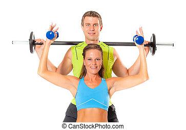 levage, couple, exercice, poids, sourire
