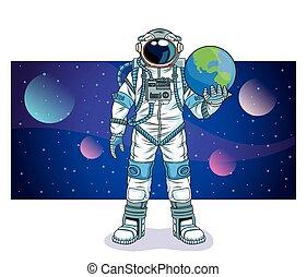 levage, espace, caractère, la terre, planète, astronaute