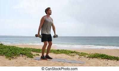 levage, exercice, haltère, dumbbells, -, augmentation, ...
