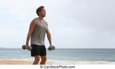 levage, haltère, dumbbells, exercices, séance entraînement, ...