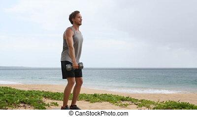 levage, haltère, dumbbells, plage, augmentation, fitness, ...