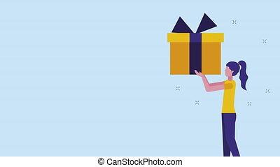 levage, jeune, cadeau, animation, femme affaires
