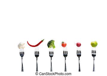 levande, begrepp, hälsosam, grönsaken, isolerat, vit, frisk, Vägskäl