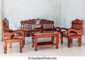 levande, grupp, ved, bord, stol, möblemang